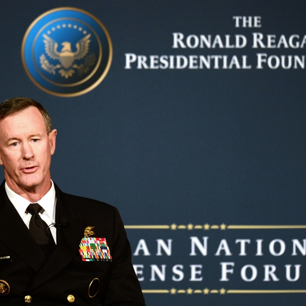 "Admiral William McRaven speaks the panel ""Counterterrorism in 2025: What kind of fighting force will be required"" during the Reagan National Defense Forum at the Ronald Reagan Presidential Library in Simi Valley, California on Nov. 16, 2013. (Credit: FREDERIC J. BROWN/AFP/Getty Images)"