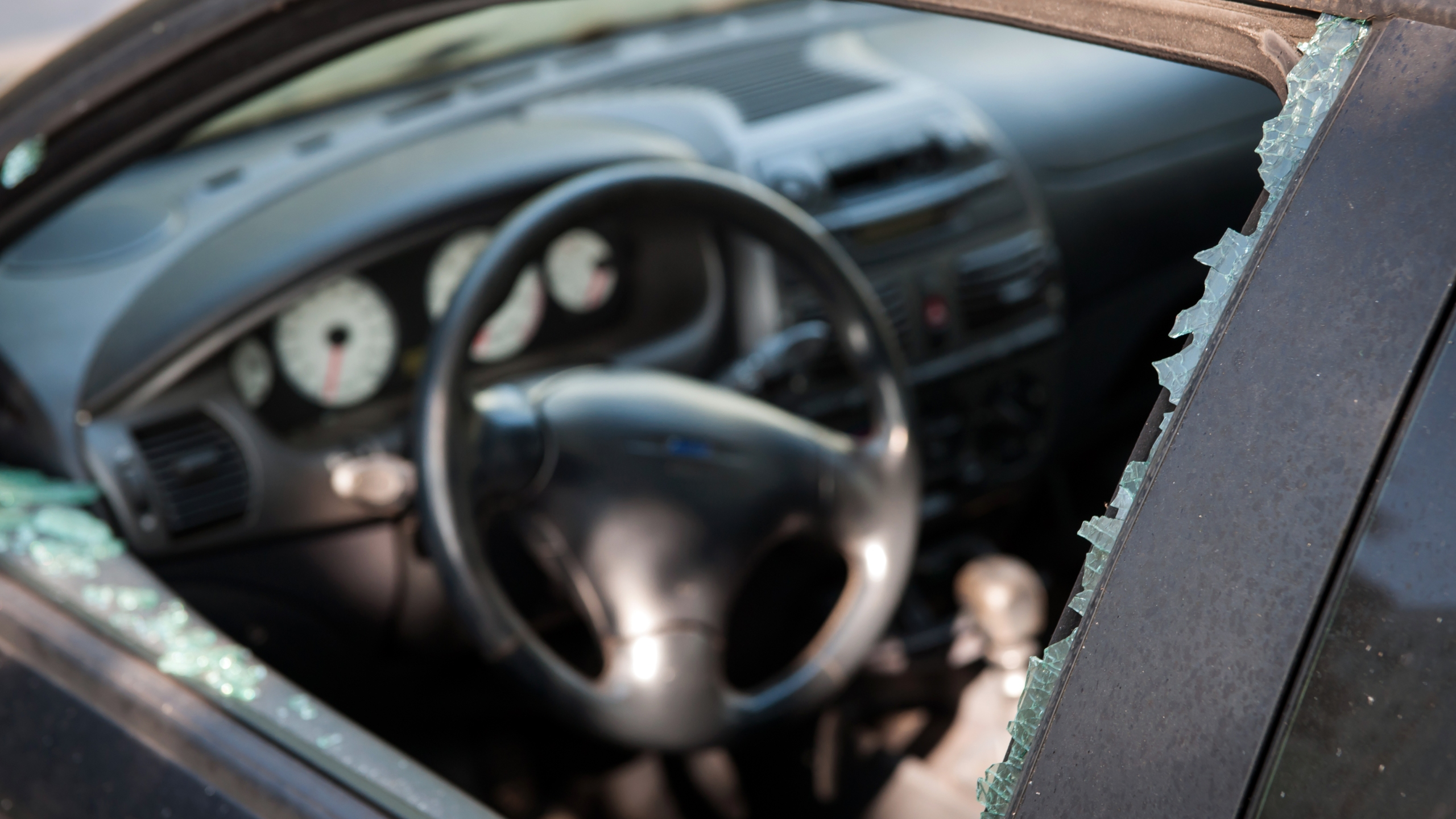 A broken car window is seen in a file photo. (iStock / Getty Images Plus)