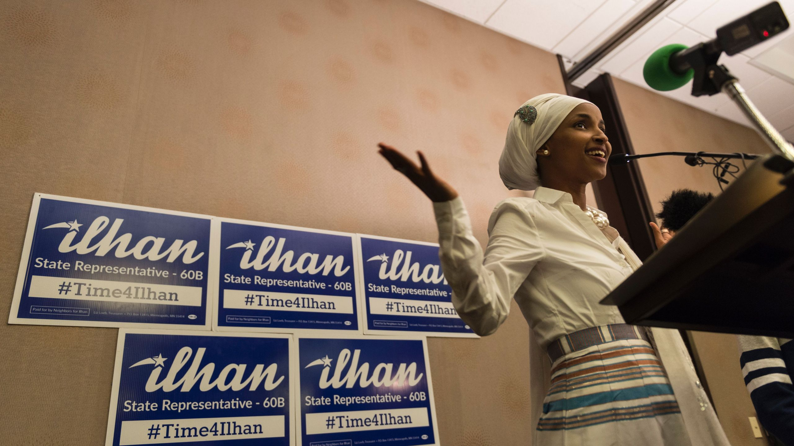Ilhan Omar, candidate for State Representative for District 60B in Minnesota, gives an acceptance speech on election night, Nov. 8, 2016, in Minneapolis, Minnesota. Omar, a refugee from Somalia, is the first Somali-American Muslim woman to hold public office. (Credit: STEPHEN MATUREN/AFP/Getty Images)