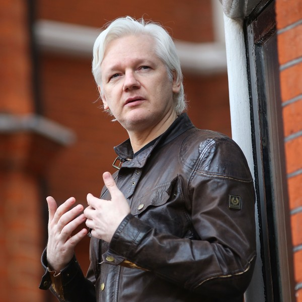 Julian Assange speaks to the media from the balcony of the Embassy Of Ecuador on May 19, 2017, in London, England. (Credit: Jack Taylor/Getty Images)