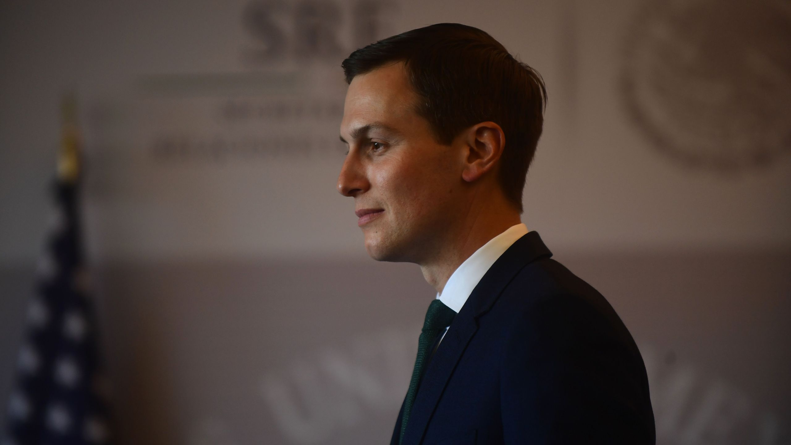 Jared Kushner is pictured at the Foreign Ministry in Mexico City, where he arrived to hold a meeting with Mexico's Foreign Minister Luis Videgaray on July 13, 2018. (Credit: PEDRO PARDO/AFP/Getty Images)
