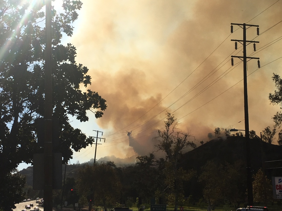 Karen Goffred submitted this photo of a brush fire in Griffith Park on Friday, Nov. 9, 2018.