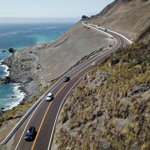 The newest part of Highway 1 is the reconstructed roadway at Mud Creek along the Big Sur coast. Now, Caltrans fears heavy rains could damage the newly formed route, which reopened in July. (Credit: Brian van der Brug / Los Angeles Times)