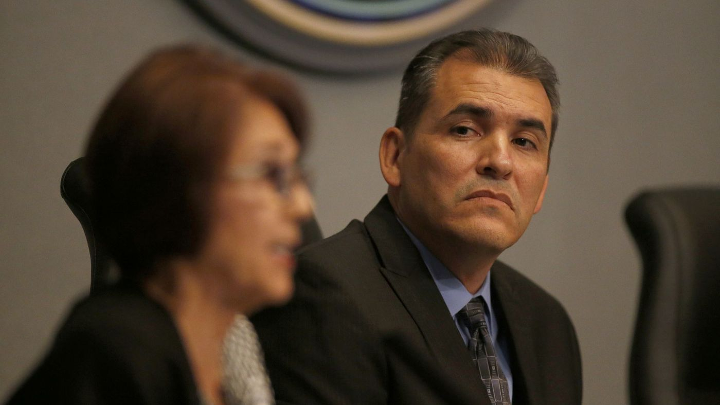 Anaheim City Councilman Jose Moreno, shown with Councilwoman Lucille Kring in the foreground, attends a council meeting in 2017. (Credit: Allen J. Schaben / Los Angeles Times)