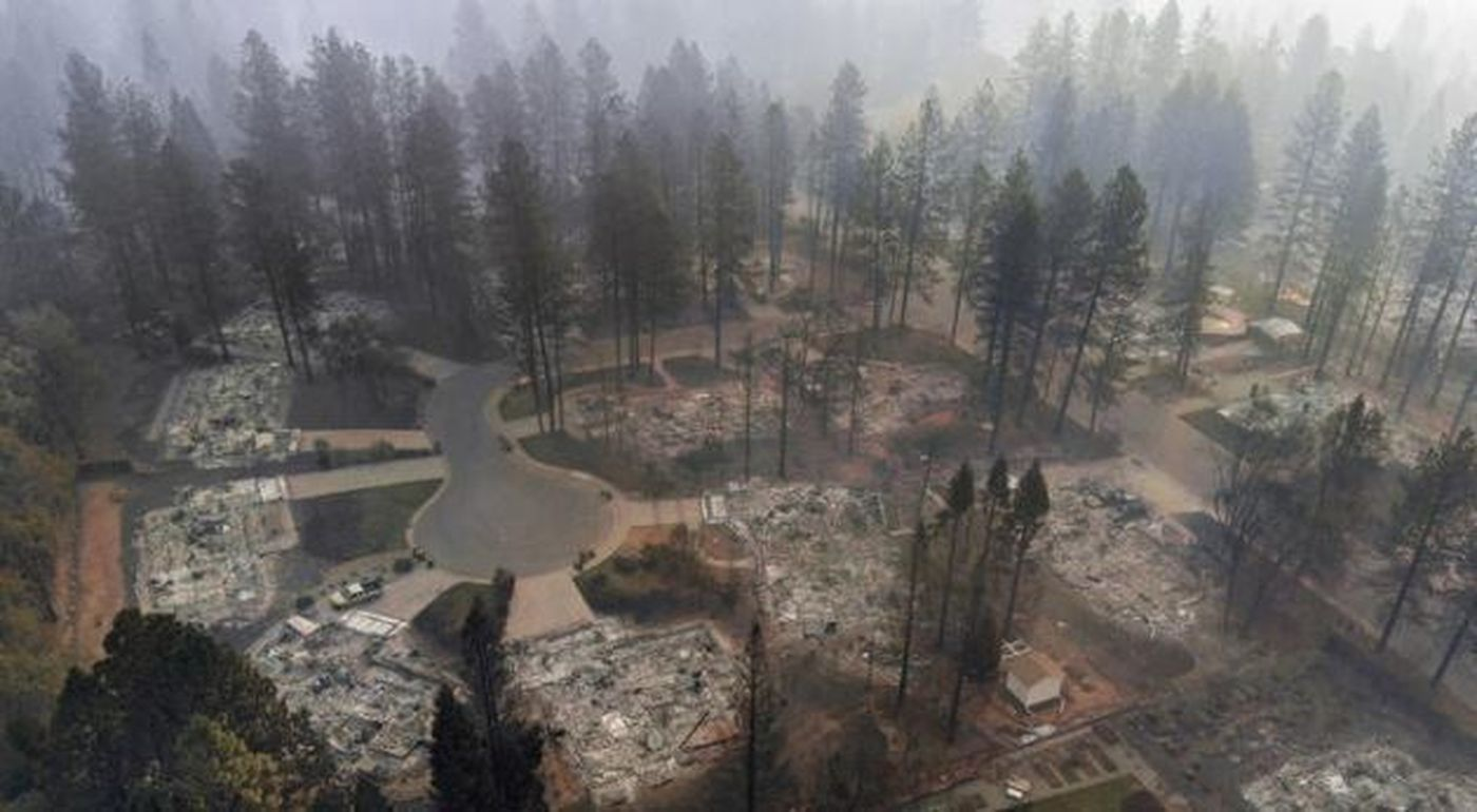 Several homes are left in ruins by the Camp fire. (Credit: Los Angeles Times)