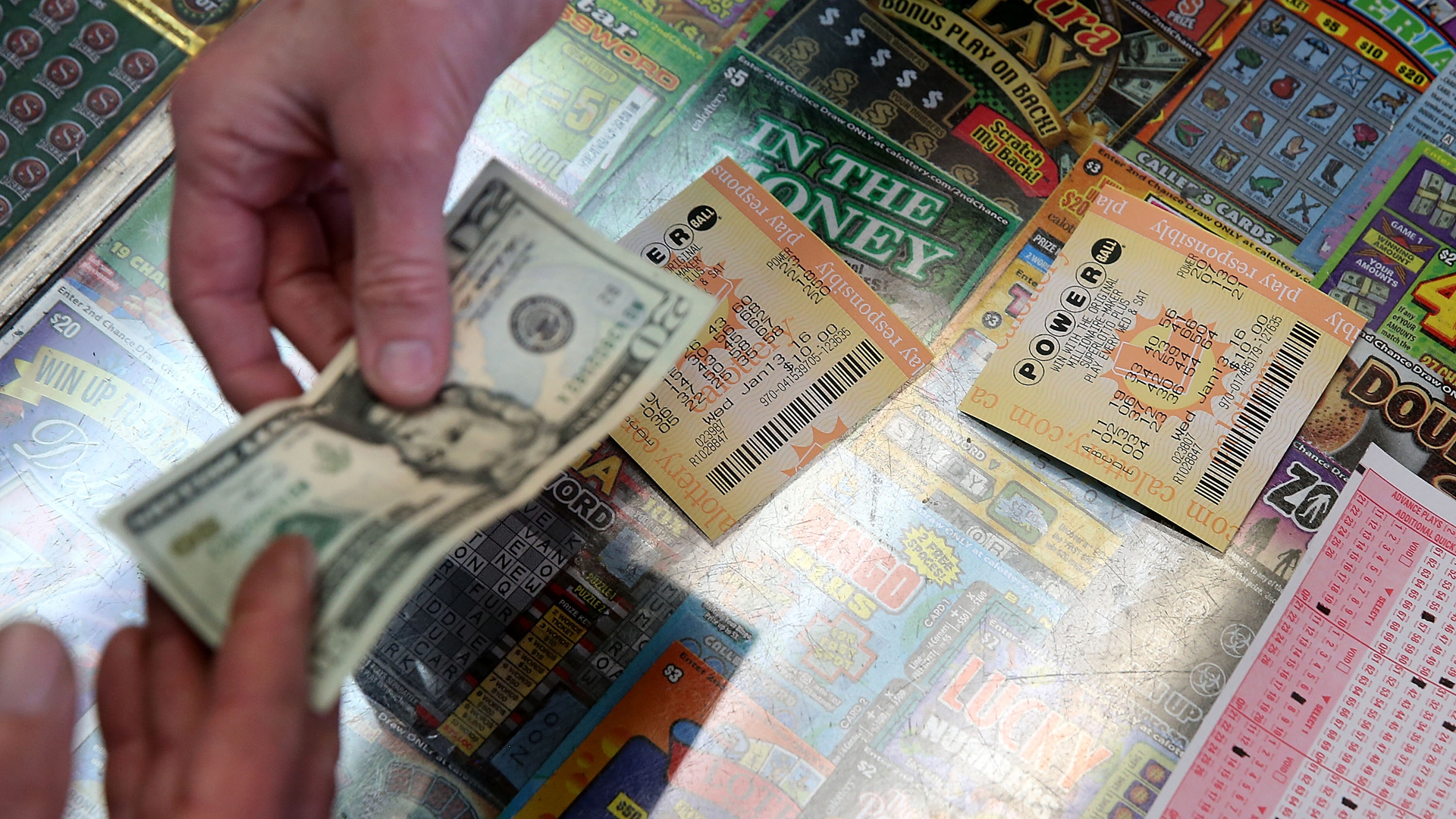 California lottery tickets are seen in a file photo. (Credit: Justin Sullivan/Getty Images)