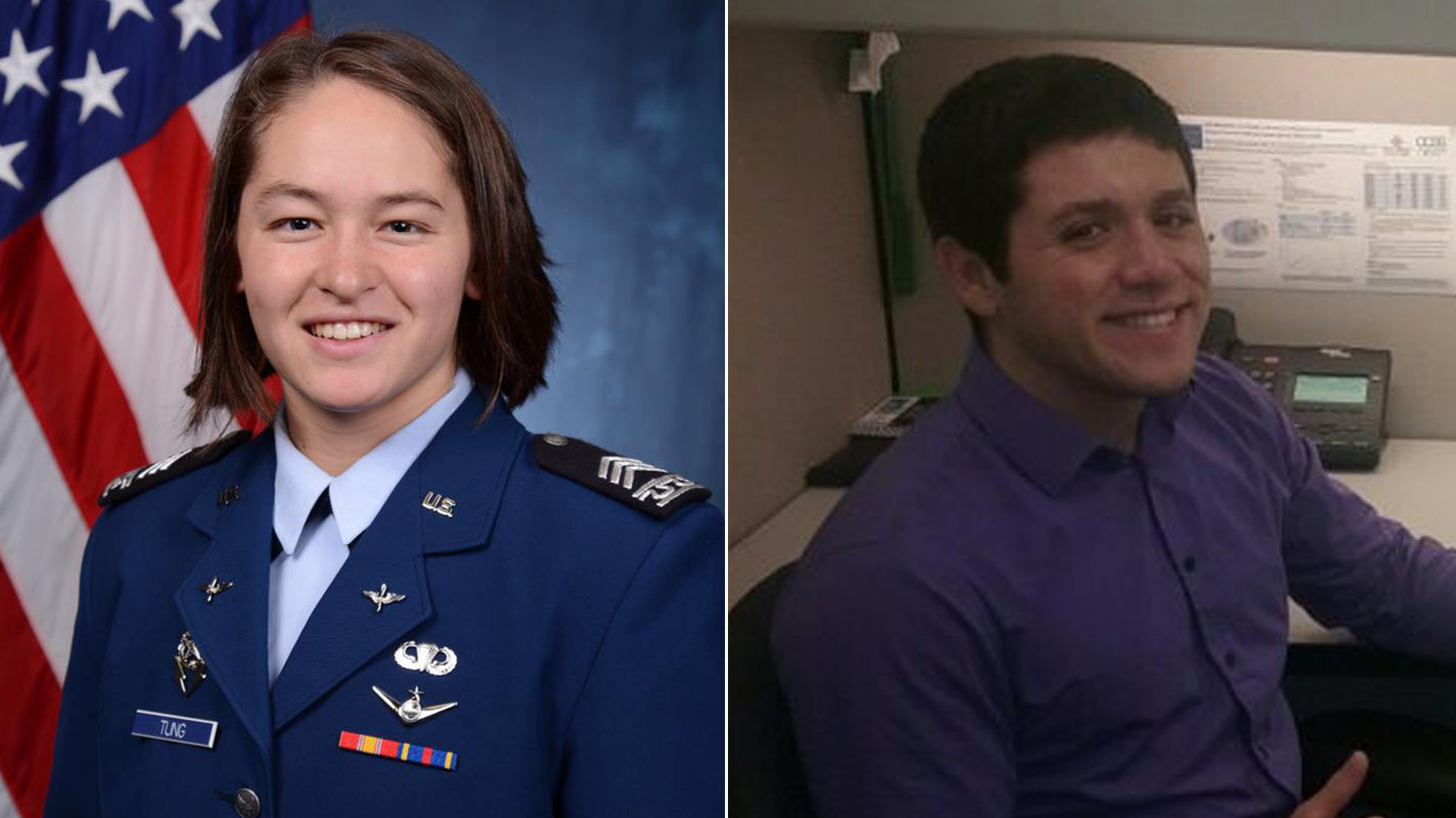 Madison L. Tung, left, is seen an image posted by the U.S. Air Force Academy on its Facebook page in September 2017. Vidal Arroyo, right, is seen in an image posted on the Chapman University blog in July 2017.