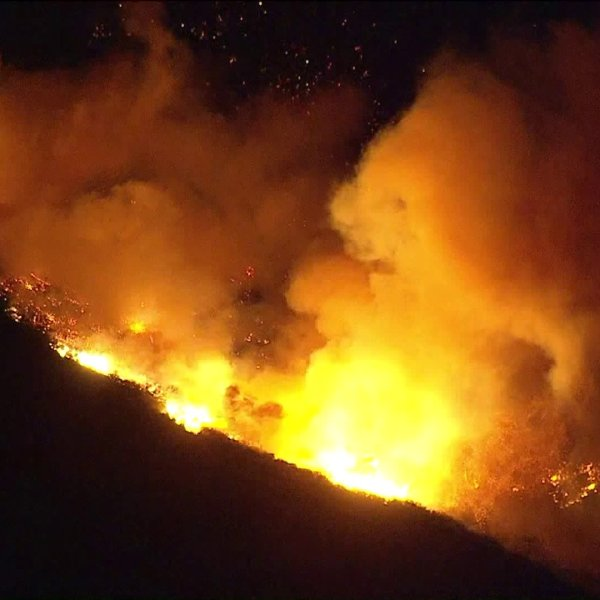 The Woolsey Fire rages into its sixth night on Nov. 13, 2018, in the unincorporated Lake Sherwood area of Ventura County. (Credit: KTLA)