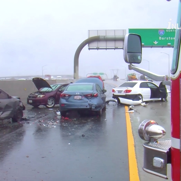 Ontario Firefighters responding to a crash on the 15 Freeway were struck and injured by cars that glided onto the scene after colliding together on Nov. 29, 2018. (Credit: Inlandnews)
