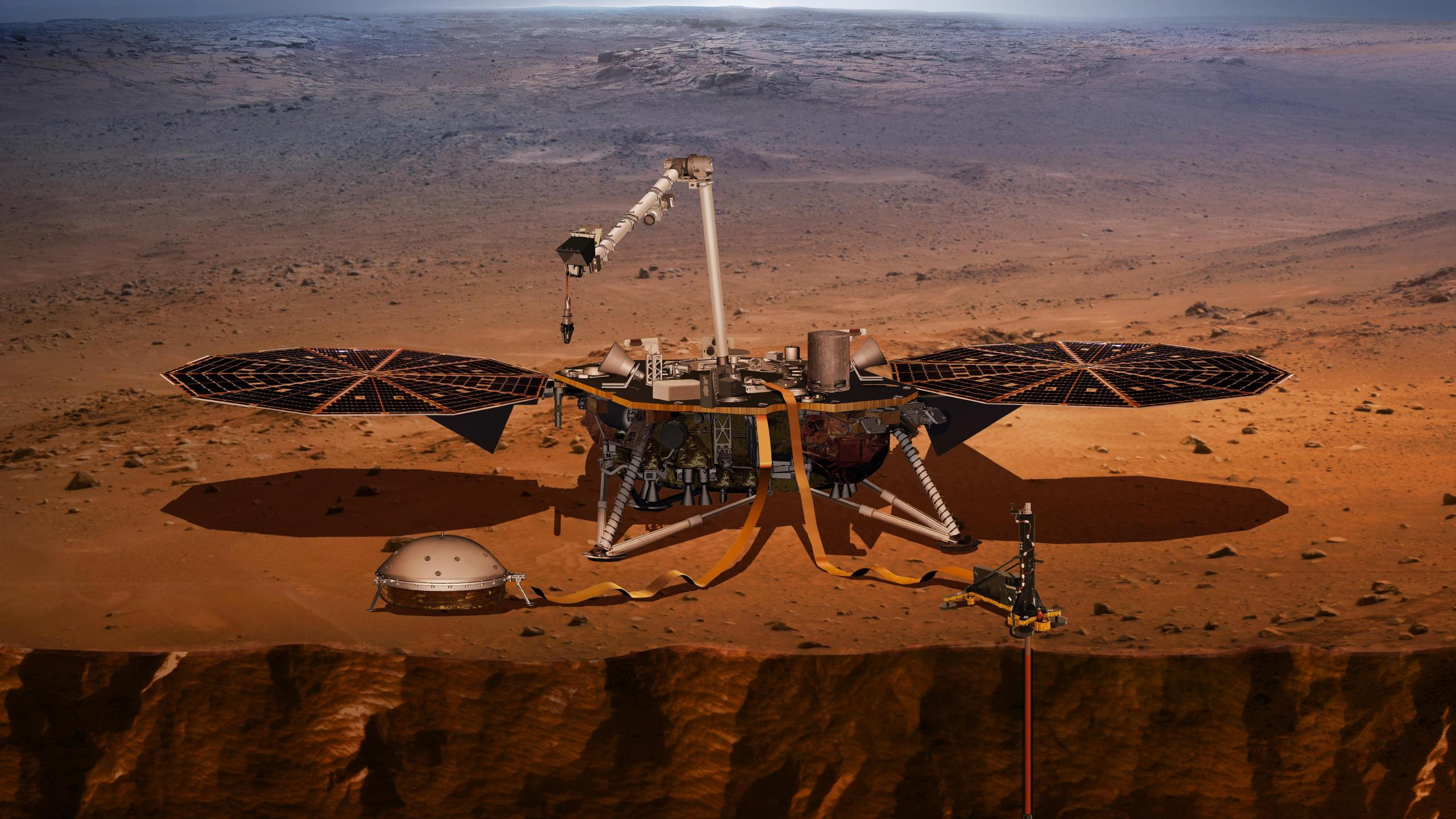 An artist's rendering shows the InSight Mars rover. (Credit: NASA's Jet Propulsion Laboratory)