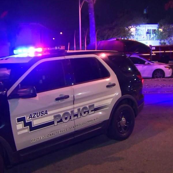 Police investigate a fatal shooting in Azusa on Nov. 21, 2018. (Credit: OnScene.TV)