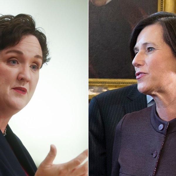 Left, Democratic congressional candidate Katie Porter (CA-45) speaks at a campaign town hall in Tustin on Oct. 22, 2018. Right, Rep. Mimi Walter speaks at a White House event on April 11, 2018. (Credit: Getty Images / left, Mario Tama; right, Chris Kleponis-Pool)