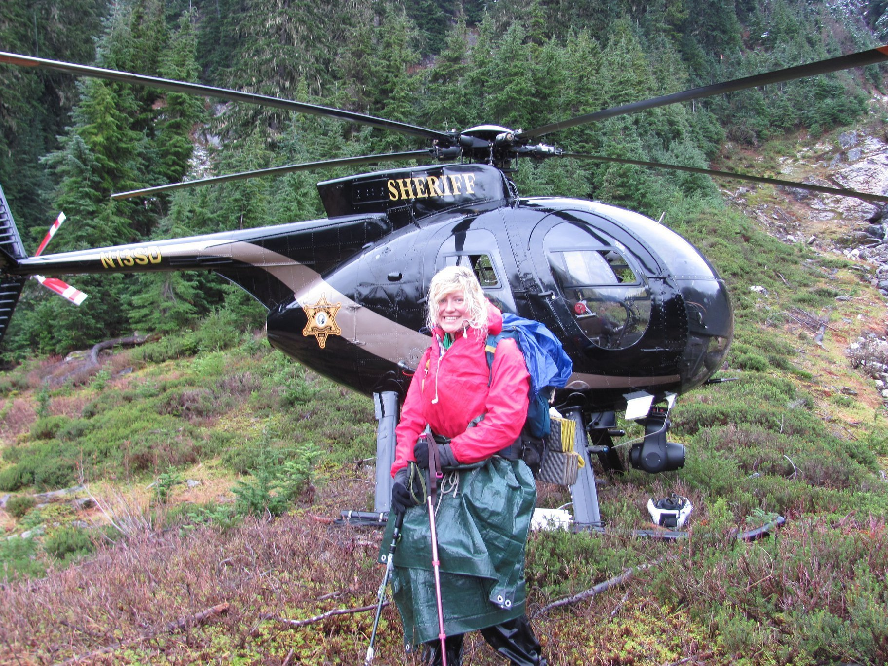 Katharina Gröne after she was rescued from the Glacier Peak Wilderness area. (Credit: Snohomish County Helicopter Rescue Team via CNN)