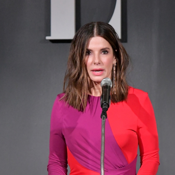 Sandra Bullock speaks onstage at ELLE's 25th Annual Women In Hollywood Celebration presented by L'Oreal Paris, Hearts On Fire and CALVIN KLEIN at Four Seasons Hotel Los Angeles at Beverly Hills on October 15, 2018. (Credit: Neilson Barnard/Getty Images for ELLE Magazine)