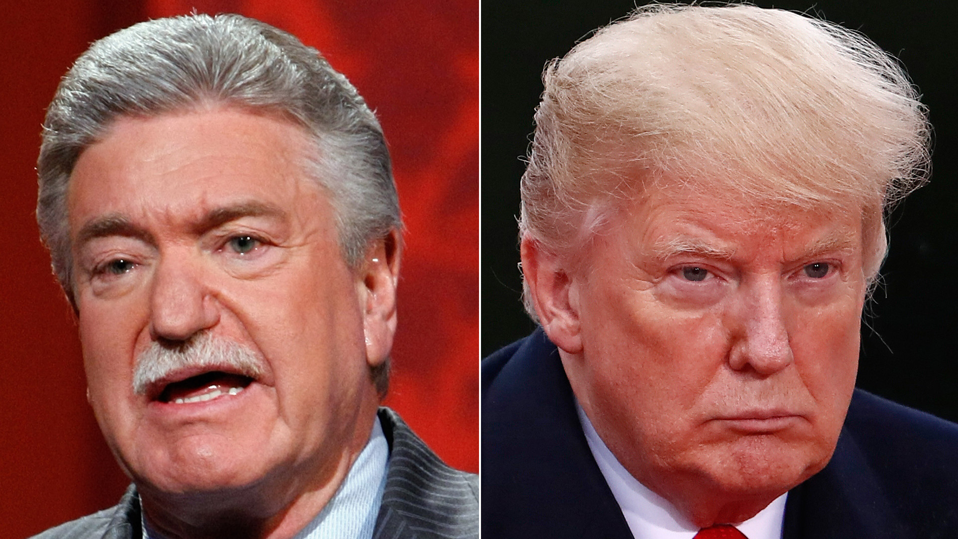 Harold Schaitberger, left, speaks during the 44th annual Labor Day Telethon at the South Point Hotel and Casino on Sept. 6, 2009 in Las Vegas, Nevada. Donald Trump, right, visits the American Cemetery of Suresnes, outside Paris, on Nov. 11, 2018. (Credit: Ethan Miller/Getty Images;CHRISTIAN HARTMANN/AFP/Getty Images)