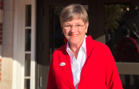 Laura Kelly is seen in an image posted by her Twitter account on Nov. 6, 2018.