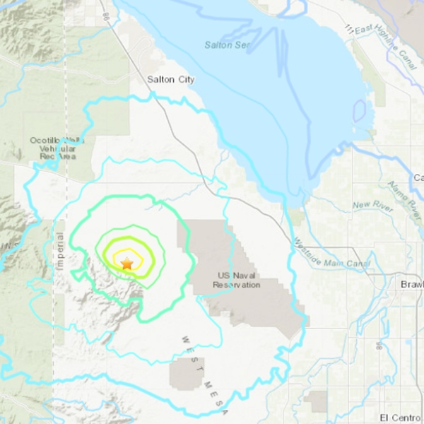 A 3.9 earthquake struck an unincorporated area of San Diego County on NOv. 29, 2018. (Credit: USGS)