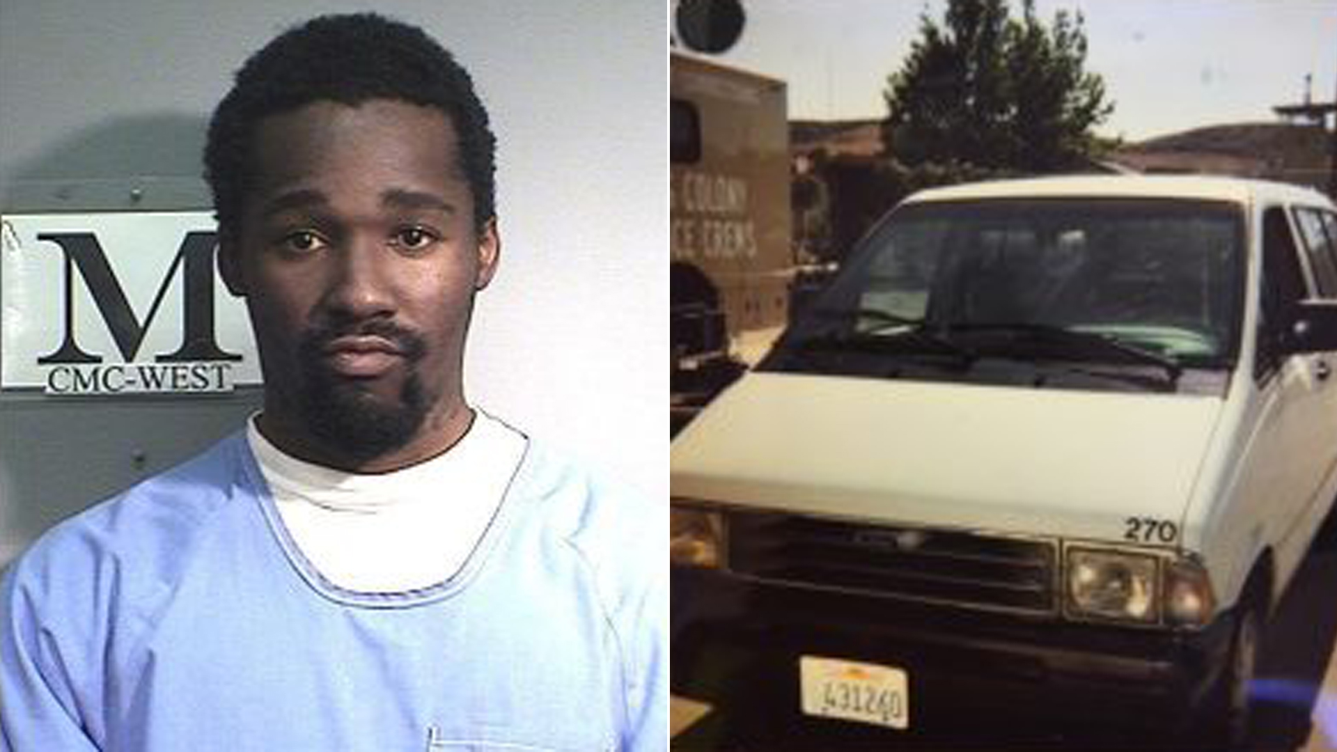 David Gray Hall, left, and the state van officials say he used to escape the California Men's Colony prison in San Luis Obispo are seen in images released Oct. 30, 2018, by the California Department of Corrections and Rehabilitation.