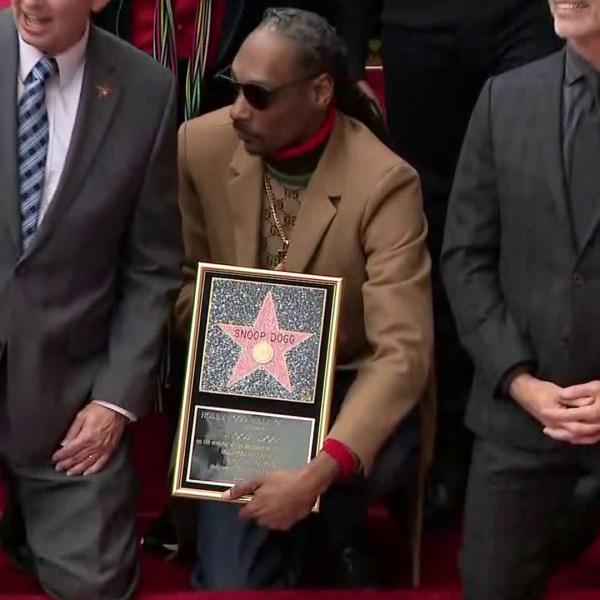 Snoop Dogg received a Hollywood Walk of Fame star on Nov. 19, 2018. (Credit: KTLA)