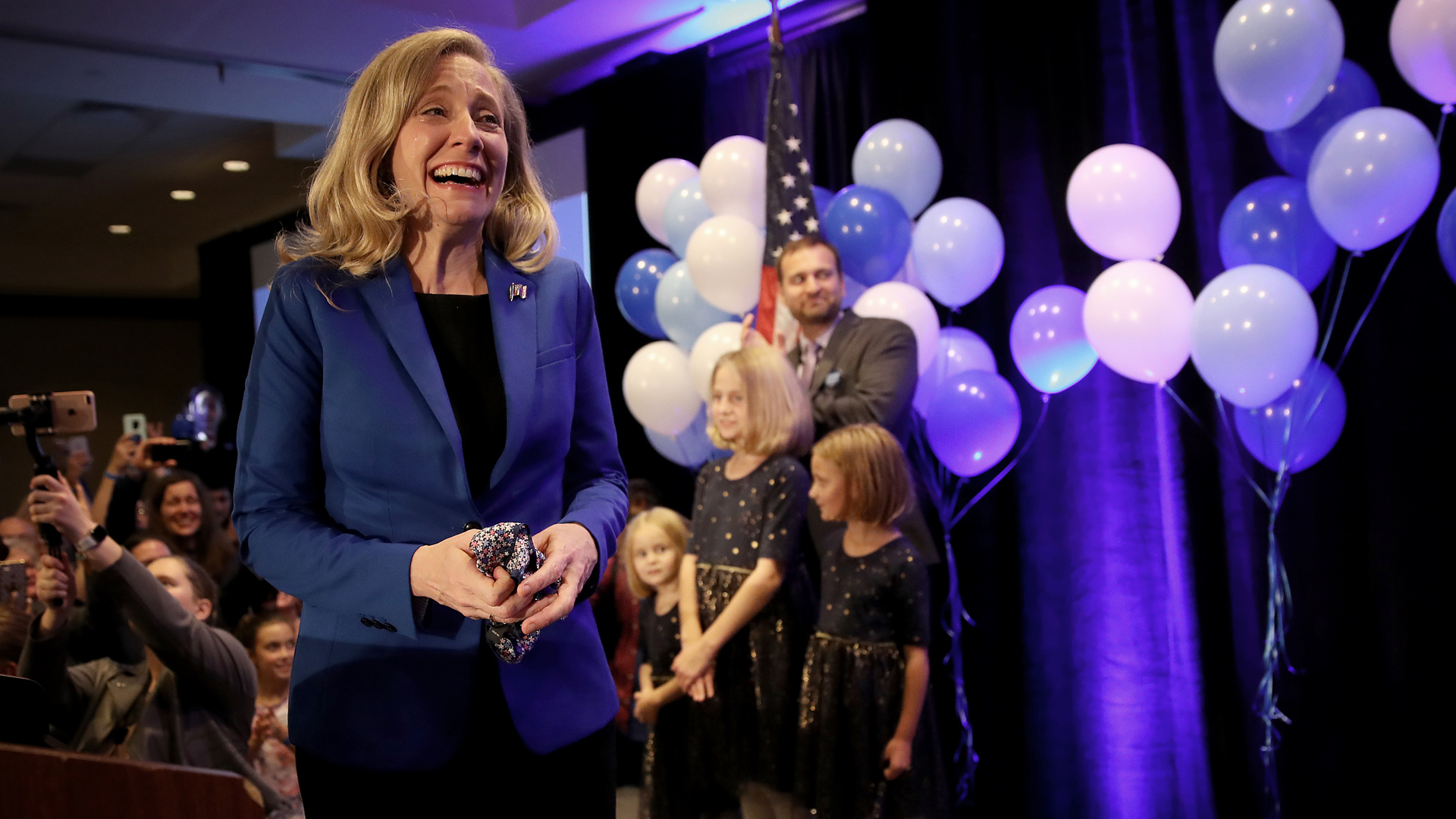 Abigail Spanberger thanks supporters at an election night rally Nov. 6, 2018, in Richmond, Virginia. Spanberger declared victory over Rep. Dave Brat (R-VA) in their race for a seat that has been under Republican control since 1968. (Credit: Win McNamee/Getty Images)