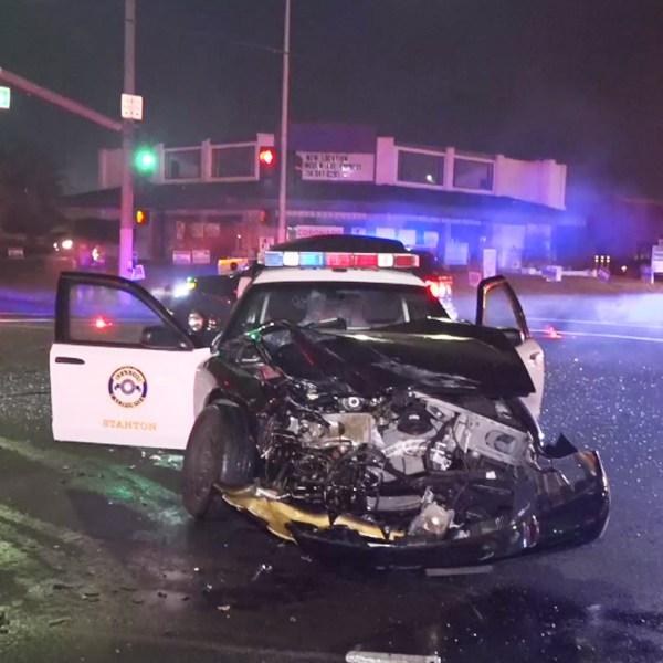 A damaged sheriff's vehicle in seen in Stanton on Nov. 5, 2018. (Credit: OnScene.TV)