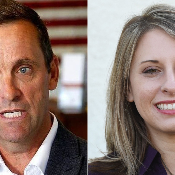 Rep. Steve Knight, left, makes a campaign stop at his Simi Valley party headquarters in an undated photo. Katie Hill, right, is seen in a campaign rally in Santa Clarita on Nov. 3, 2018. (Credit: Los Angeles Times; MARK RALSTON/AFP/Getty Images)