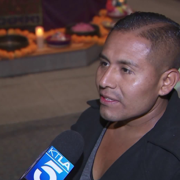 Santos Tecum speaks to KTLA on Nov. 8, 2018, the morning after he survived a mass shooting at a Thousand Oaks bar. (Credit: KTLA)
