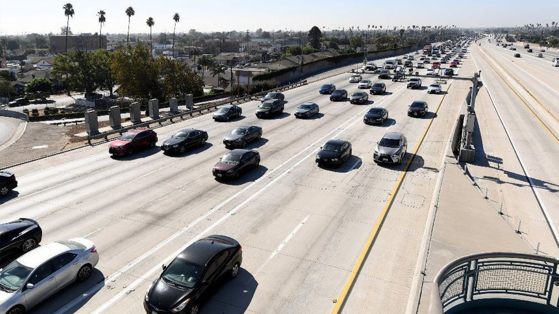 Traffic on the 110 Freeway in Los Angeles is seen in this file photo from September 2018. (Credit: Wally Skalij / Los Angeles Times)