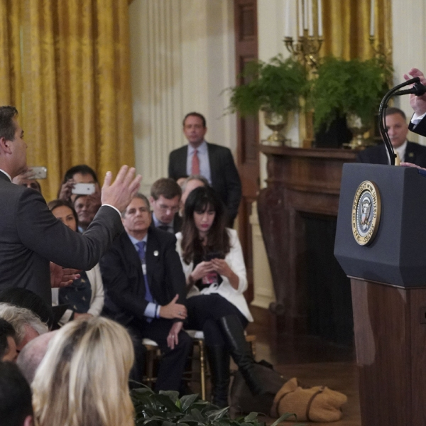 President Donald Trump gets into a heated exchange with CNN chief White House correspondent Jim Acosta on Nov. 7, 2018. (Credit: MANDEL NGAN/AFP/Getty Images)