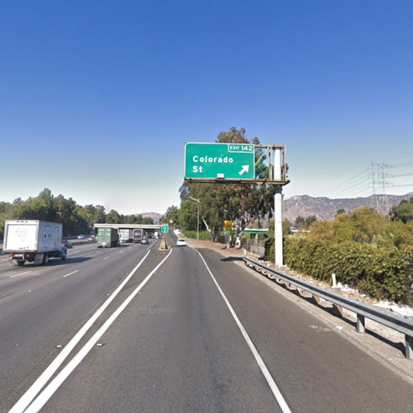 The northbound 5 Freeway at Colorado Boulevard in Griffith Park, as pictured in a Google Street View map in December, 2018.