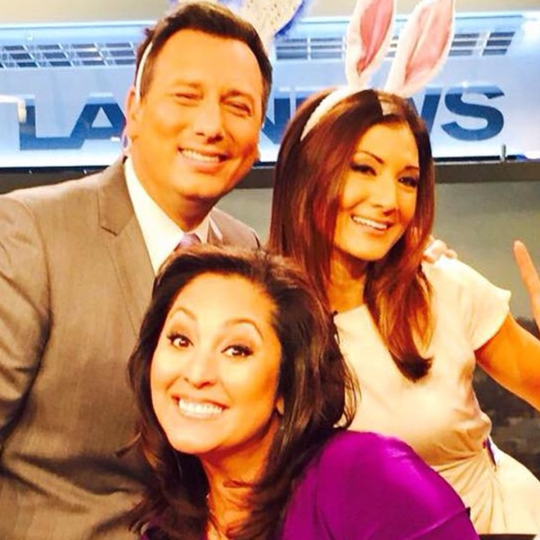 Chris Burrous, Liberte Chan and Lynette Romero pose for a fun Easter photo on the KTLA set on April 5, 2015.