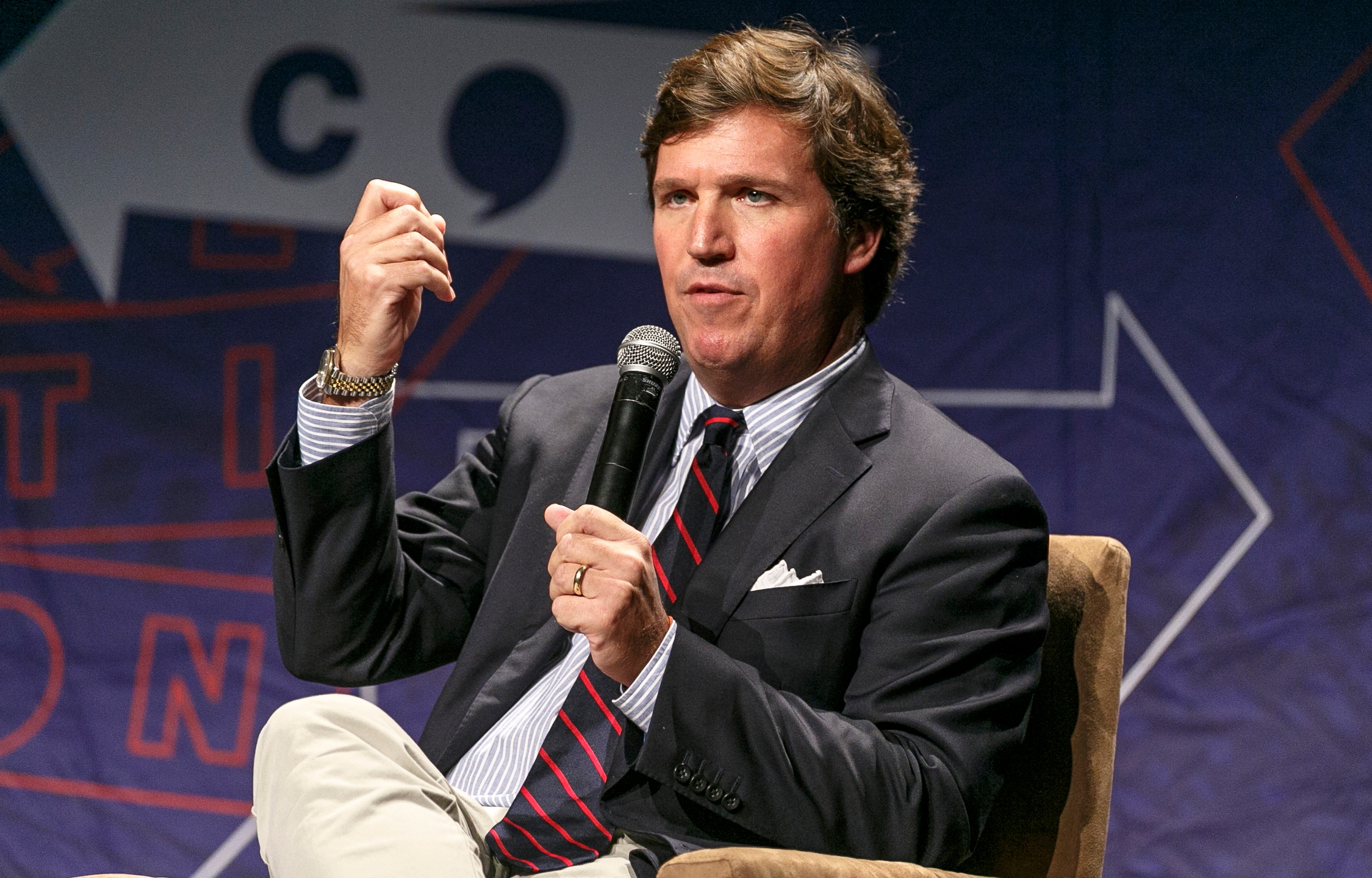 Tucker Carlson speaks onstage during Politicon 2018 at Los Angeles Convention Center on October 21, 2018 in Los Angeles, California. (Credit: Rich Polk/Getty Images for Politicon)