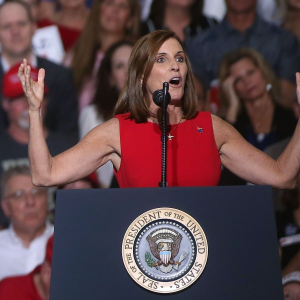 Martha McSally, R-Ariz, speaks during a rally for President Donald Trump at the International Air Response facility on Oct. 19, 2018 in Mesa, Arizona. (Credit: Ralph Freso/Getty Images)