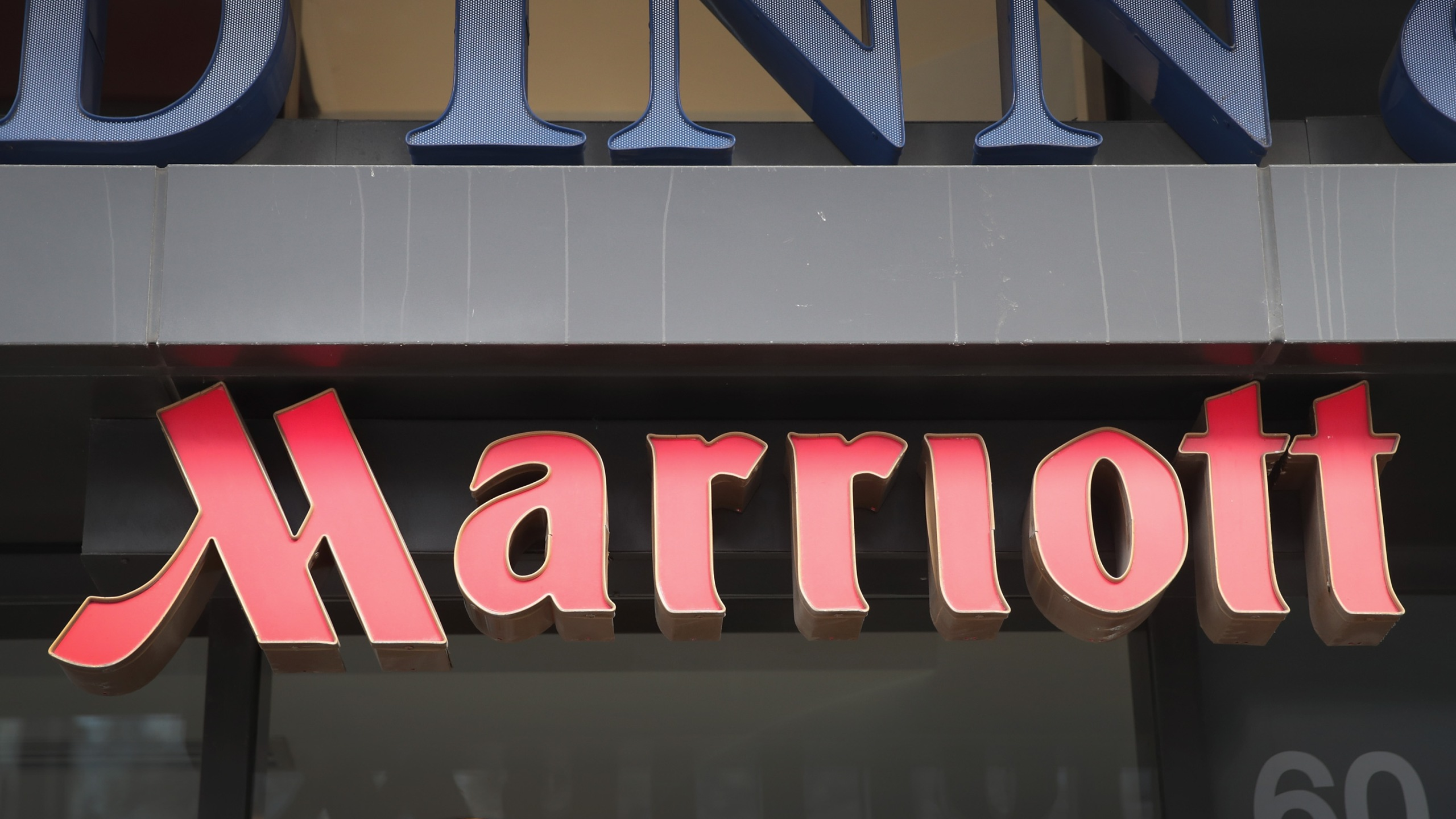 A sign marks the location of a Fairfield Inn & Suites Marriott hotel in Chicago, Illinois, on Nov. 30, 2018. (Credit: Scott Olson / Getty Images)