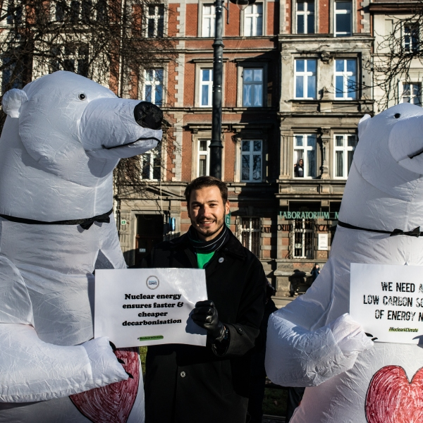 Environmental protesters dressed as polar bears make the case for nuclear energy as a climate change solution at a Greenpeace march on Dec. 8, 2018 in Katowice, Poland. (Credit: Martyn Aim/Getty Images)