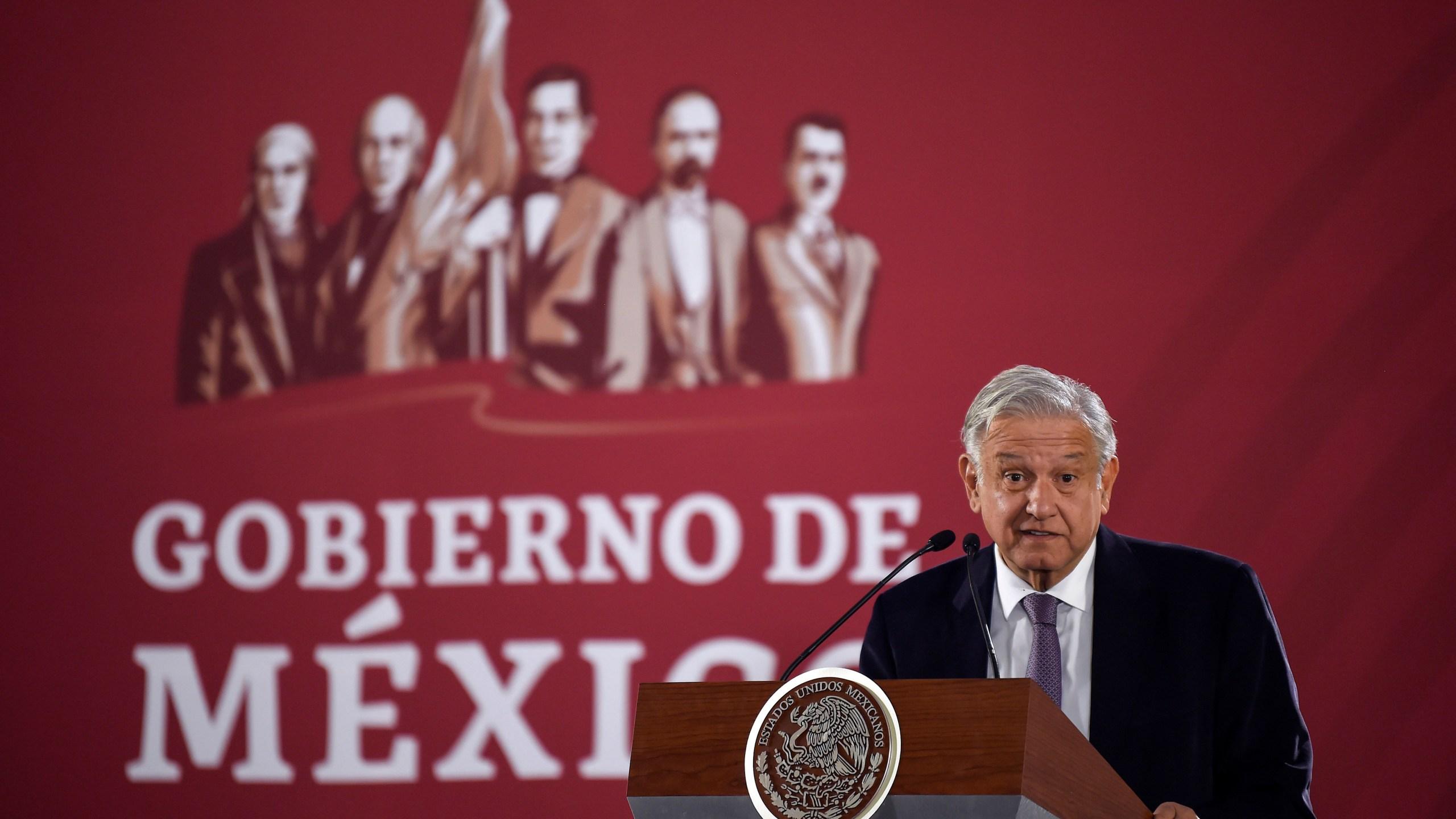 Mexico's President Andres Manuel Lopez Obrador delivers a press conference at the Palacio Nacional, in Mexico City on Dec. 14, 2018. (Credit: ALFREDO ESTRELLA / AFP)