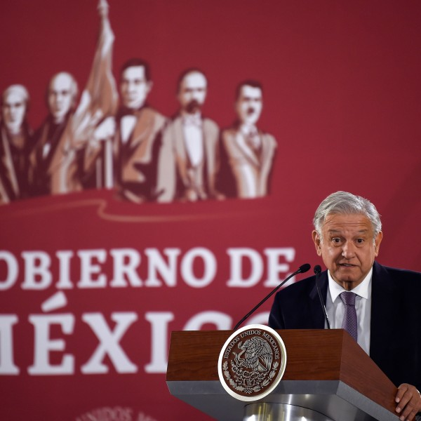 Mexico's President Andres Manuel Lopez Obrador delivers a press conference at the Palacio Nacional, in Mexico City on Dec. 14, 2018. (Credit: ALFREDO ESTRELLA / AFP)