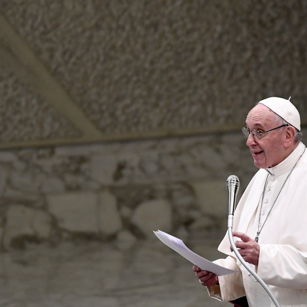 Pope Francis delivers a speech during an audience with the Vatican employees at the Pope Paul VI hall in the Vatican, on December 21, 2018. (Credit: FILIPPO MONTEFORTE/AFP/Getty Images)