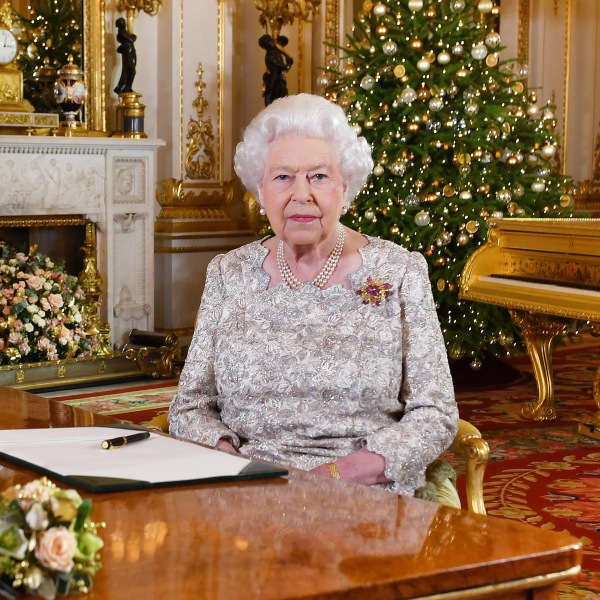 Queen Elizabeth II poses for a photo after she recorded her annual Christmas Day message in the White Drawing Room at Buckingham Palace in a picture released on Dec. 24, 2018, in London. (Credit: John Stillwell - WPA Pool/Getty Images)