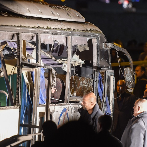 This picture taken on December 28, 2018 shows a view of a tourist bus which was attacked in Giza province south of the Egyptian capital Cairo. (Credit: MOHAMED EL-SHAHED/AFP/Getty Images)