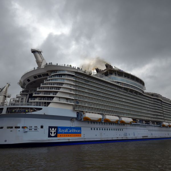 The Harmony of the Seas cruise ship leaves the STX shipyard of Saint-Nazaire, western France, for a three-day offshore test, on March 10, 2016. (Credit: LOIC VENANCE/AFP/Getty Images)