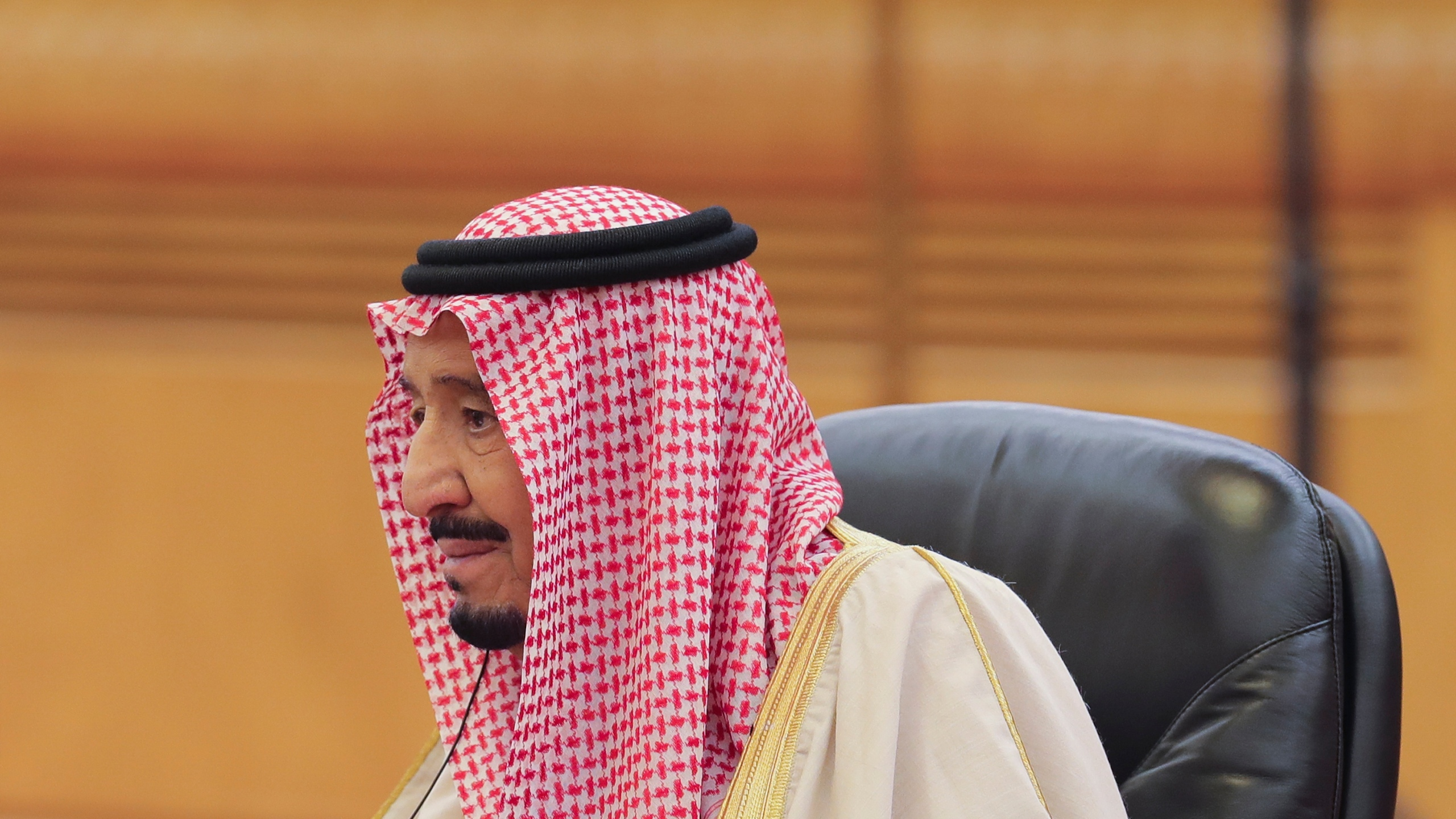 Saudi Arabia's King Salman bin Abdulaziz Al Saud during his meeting with Chinese President Xi Jinping (not pictured) at the Great Hall of the People on March 16, 2017, in Beijing, China. (Credit: Lintao Zhang/Pool/Getty Images)