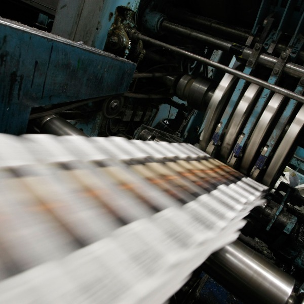 Newspapers are printed in this file photo. (Credit: Justin Sullivan/Getty Images)