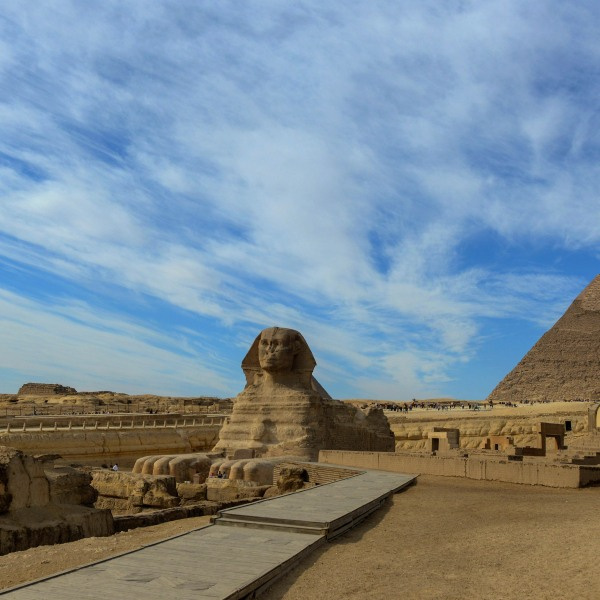 The Sphinx at the Giza Pyramids complex on the outskirts of the Egptian capital Cairo on Dec. 6, 2017. (Credit: Mohamed El-Shahed/AFP/Getty Images)