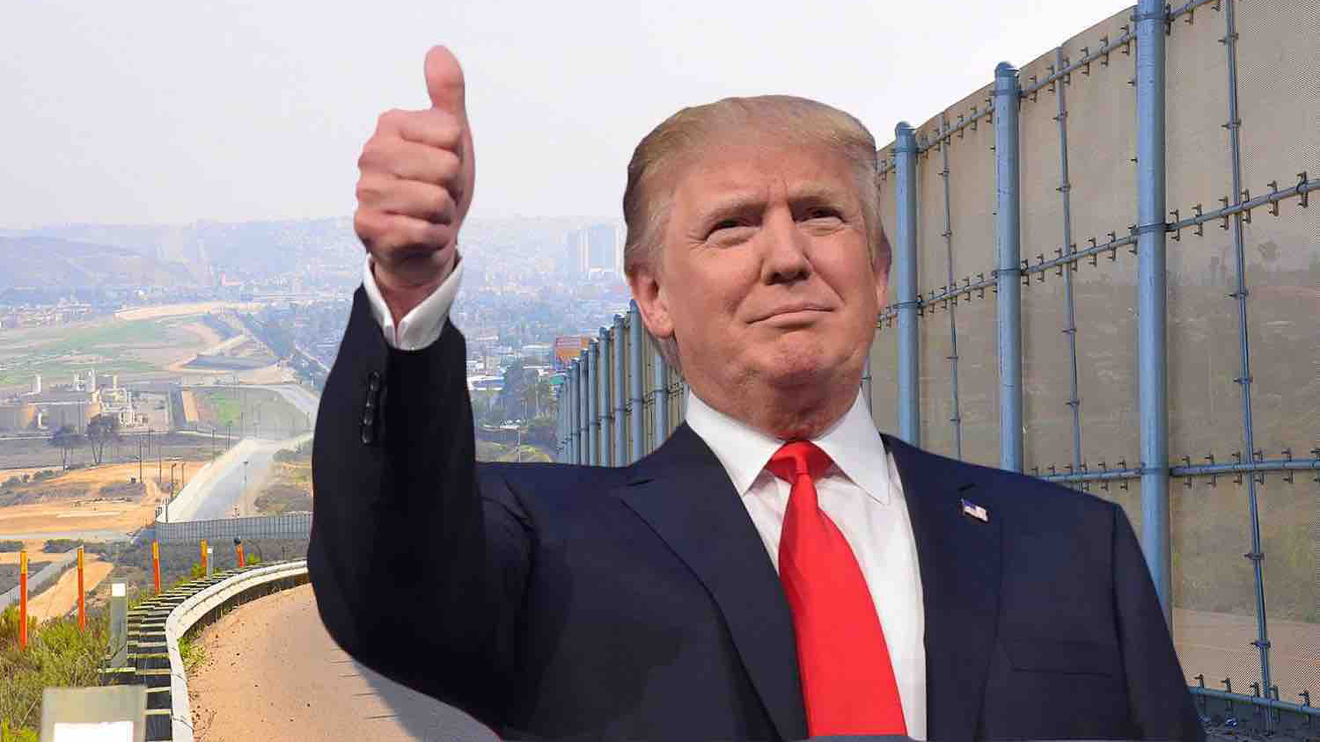 The feature photo of the GoFundMe account that's trying to raise money to build a wall along the U.S.-Mexico border.