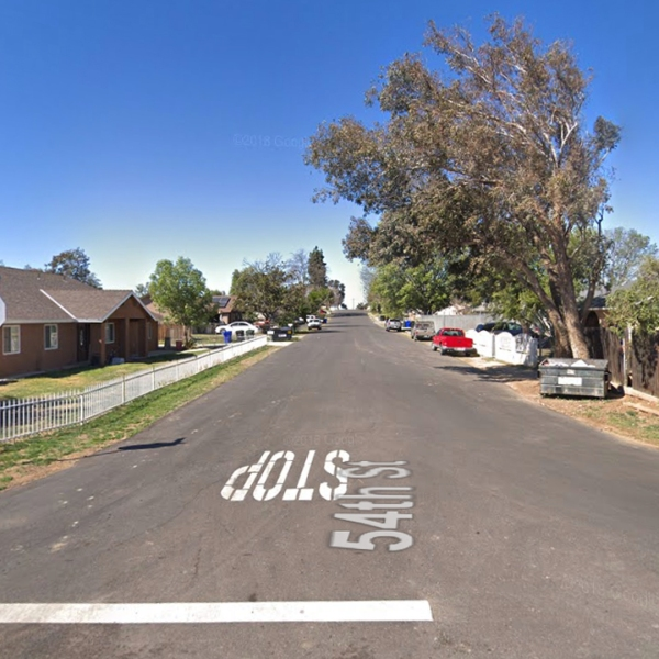 The 10000 block of 54th Street in Jurupa Valley, as seen in a Google Street View image in March of 2018.