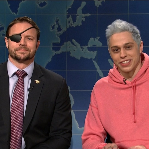 U.S. Rep.-elect Dan Crenshaw, left, and Pete Davidson, right, on an episode of Saturday Night Live. (Credit: SNL via CNN Wire)