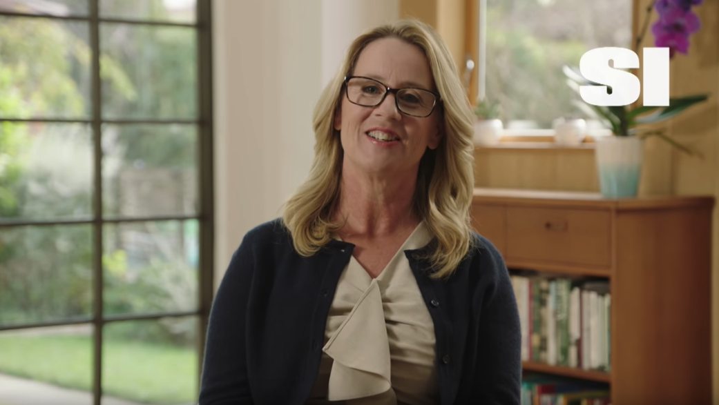 Christine Blasey Ford appears in a video presenting Sports Illustrated's Inspiration of the Year Award to Rachael Denhollander. (Credit: CNN via Sports Illustrated)