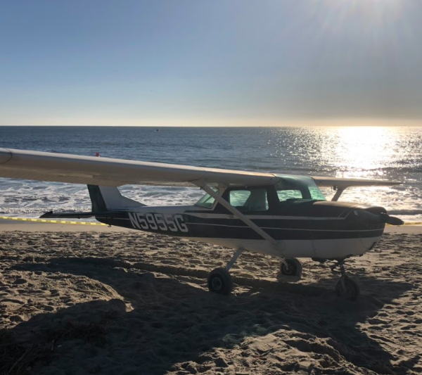 Orange County Fire Authority tweeted this image of a Cessna airplane that landed on Doheny State Beach on Dec. 15, 2018.