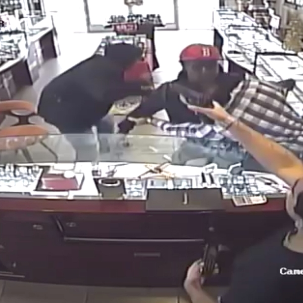Surveillance cameras were rolling as two men, one of them armed with a knife, tried to rob a South Pasadena jewelry store on Dec. 14, 2018. One of the workers chased them off with a handgun. (Credit: South Pasadena Police Department)